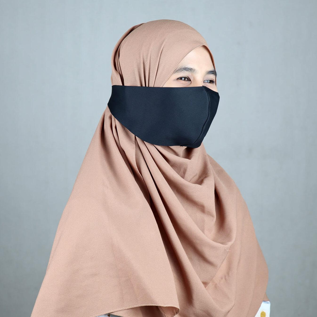 Masker Hijaber / Scuba Hijab Premium - Hitam,One Size ...